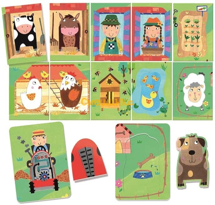 Карточки игра Монтессори Headu Ферма и ее обитатели (MU24001) - 1