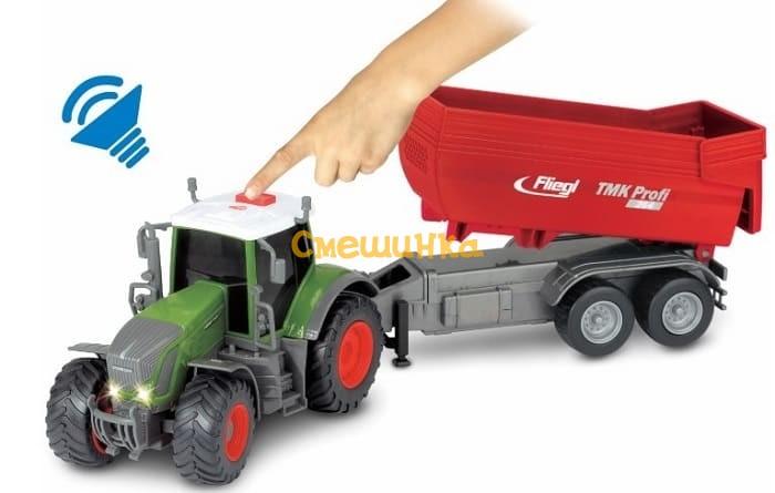 Трактор Dickie Toys Фендт 939 Варио с прицепом со светом и звуком 41 см (3737002) - 1
