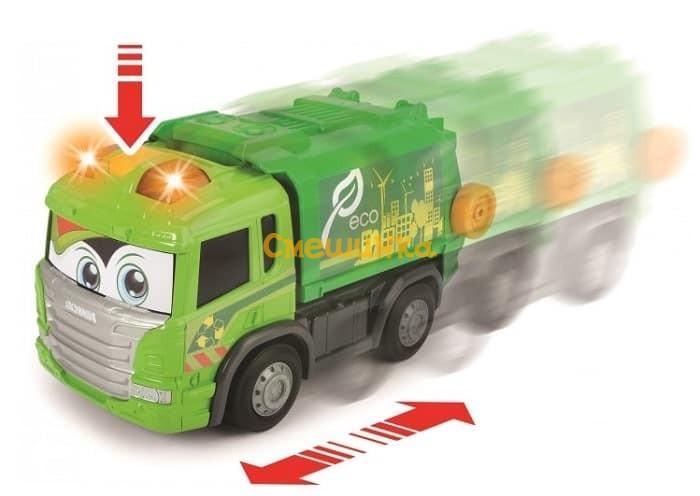 Мусоровоз Dickie Toys Хэппи Скания с контейнером со светом и звуком 25 см (3814015) - 1