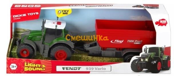 Трактор Dickie Toys Фендт 939 Варио с прицепом со светом и звуком 41 см (3737002) - 4